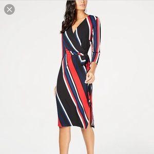 Inc Concepts red blue black striped wrap dress